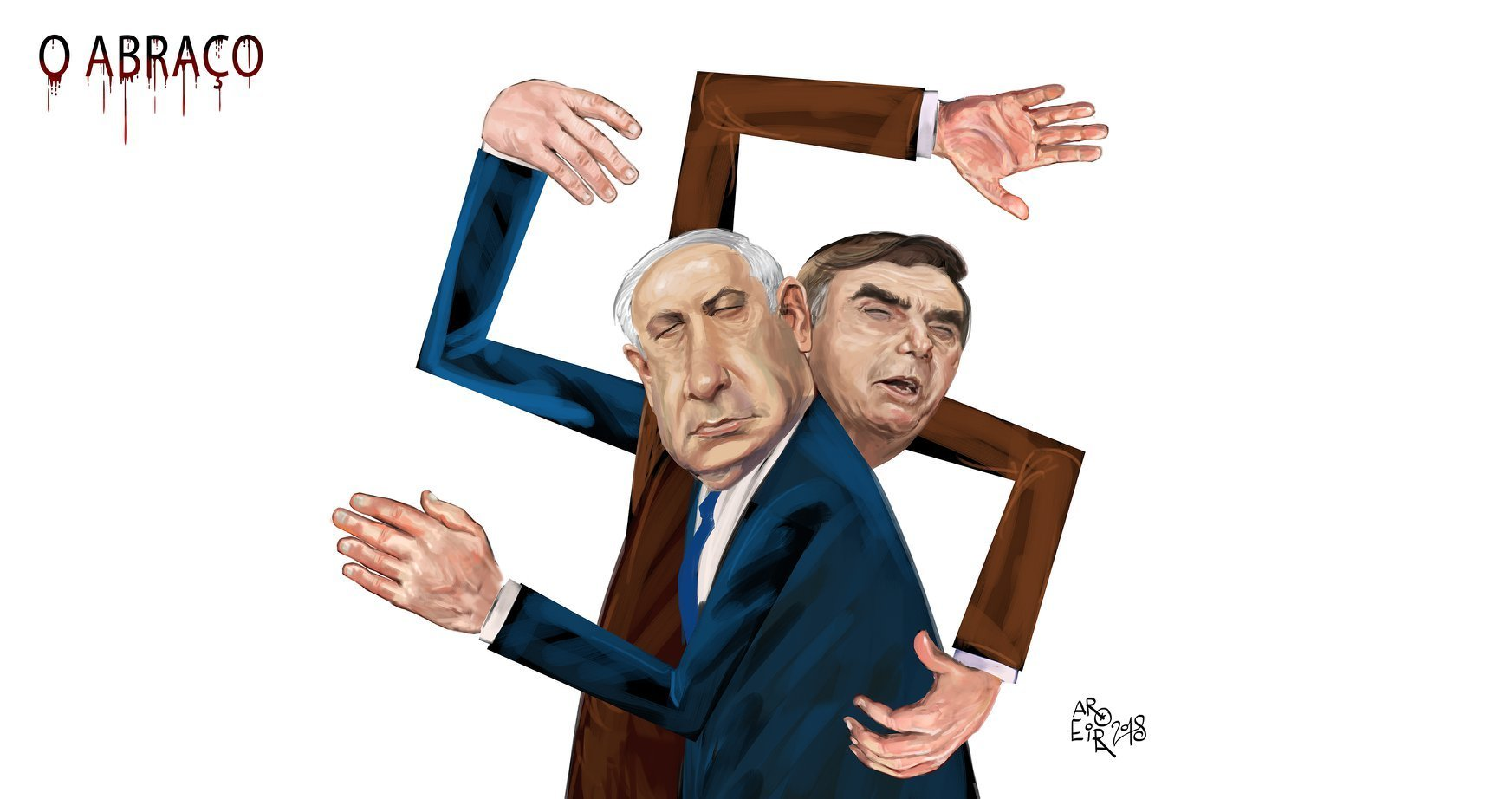 Charge do cartunista Aroeira sobre Bolsonaro e Netanyahu